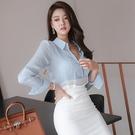 歐媛韓版 仙仙的上衣襯衣女洋氣心機女長袖韓國襯衫 秋新款設計感淺藍色韓國襯衫