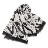 Calvin Klein滿版品牌字母寬版披肩薄圍巾(黑白色)103262-1