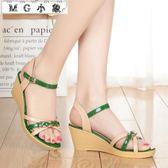 坡跟涼鞋 涼鞋厚底休閒漆皮坡跟真皮防滑簡約涼鞋