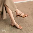 PUFII-涼鞋 方頭斜邊條低跟涼鞋- ...