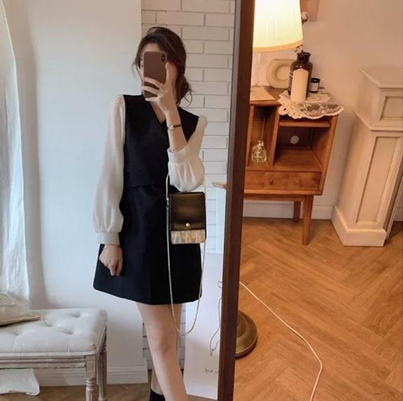 EASON SHOP(GQ0324)法式交叉V領蝴蝶結綁繩縮腰收腹連身裙小香風撞色拼紗女洋裝A字短裙半身裙一步裙