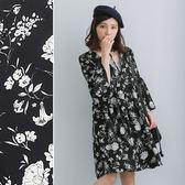 *蔓蒂小舖孕婦裝【M8300】*頸鍊造型花朵高腰洋裝