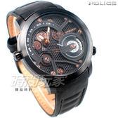 POLICE 義大利精品 大錶面 大個性 兩地時間 雙時區 男錶 防水手錶 真皮錶帶 15471JSB-02