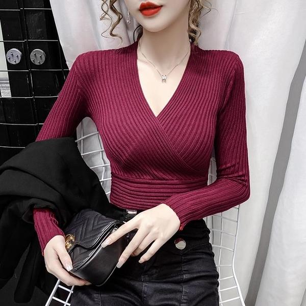 v領打底衫女秋冬內搭毛衣2020年新款修身顯瘦薄款長袖針織上衣潮 【蜜斯sugar】