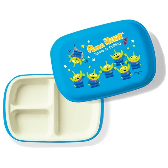 小禮堂 迪士尼 三眼怪 日製 塑膠餐盤 附蓋 方形 三格 便當盒 餐盒 菜盤 (藍 夾娃娃) 4981181-60367