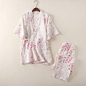 和服睡衣套裝女夏古風日式全棉家居服
