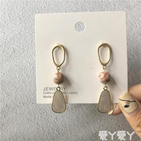 耳釘S925銀針韓國氣質高級感棕色天然貝殼幾何啞光長款耳釘耳環294新品