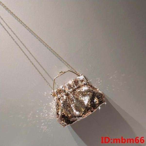 小眾包手提亮片包bling金屬手環閃片包斜挎珠片包蹦迪包