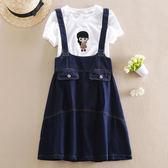 夏裝女童韓版牛仔裙 短袖T恤兩件套PLL4766【男人與流行】