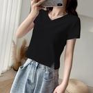 短款上衣 黑色v領短款T恤女夏短袖超高腰短裝露臍上衣-Ballet朵朵