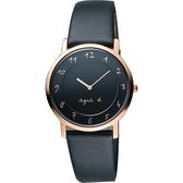 agnes b. 法國時尚藝術薄型石英女錶-黑x玫瑰金框/34mm 7N00-0BH0K(BG4009P1)