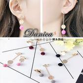 夾式耳環 現貨 韓國氣質甜美不對稱絨布球球吊飾夾式耳環(4色) S91213 Danica 韓系飾品 韓國連線