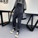 減齡牛仔吊帶褲女韓版寬鬆學生春季哈倫褲顯瘦褲子吊帶褲新款 極簡雜貨