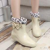 春秋下雨鞋水鞋女防水膠鞋女士中筒成人雨靴防滑時尚學生套鞋韓版 DJ5690『麗人雅苑』