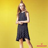 【SHOWCASE】條紋蕾絲袖斜襬魚尾裙洋裝(黑)