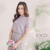 東京著衣【YOCO】好感女孩優雅精緻刺繡針織短袖上衣-S.M.L(180286)