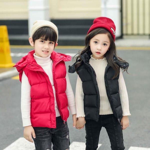 童裝兒童羽絨棉立領馬甲男女童中大童小孩外穿連帽背心 糖果時尚