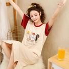 睡裙女夏季薄款純棉短袖中長款睡衣女夏學生可愛卡通甜美清新孕婦 【端午節特惠】