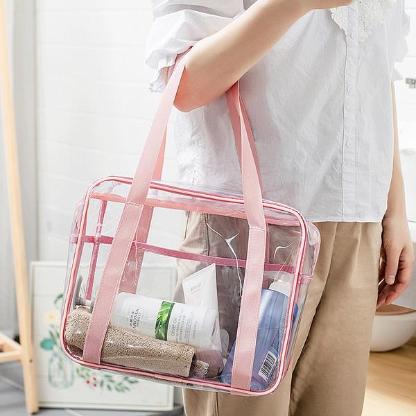 透明防水側背包 大容量 收納化妝包 手提包 PVC 透明洗漱包 手提袋 透明包 果凍包 側背包【RB568】