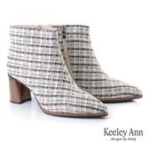 ★2019秋冬★Keeley Ann我的日常生活 英格蘭風木紋跟短靴(杏色) -Ann系列