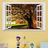 DIY  壁貼透明可移除PVC 牆貼客廳臥室假窗壁貼森林窗景壁貼大樹《 美學》