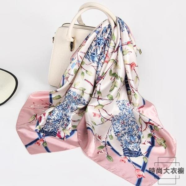 薄款發帶兩用防曬絲巾女大方巾90x90正方形圍巾【時尚大衣櫥】