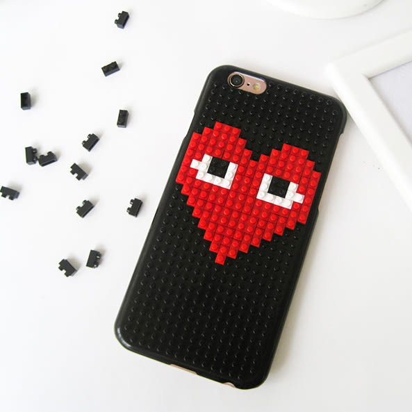 iphone6sPlus樂高積木手機殼 惡搞川久保玲眼睛愛心形潮牌明星同款 美樂蒂