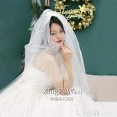 簡約森系旅拍超仙短款頭紗自拍新款新娘婚紗頭飾網紅寫真拍照道具