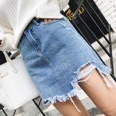 高腰短裙女不規則破洞牛仔裙a字裙韓版性感包臀裙半身裙潮