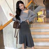 秋季新款慵懶長袖露鎖骨心機格子襯衣 不規則高腰半身裙時尚套裝