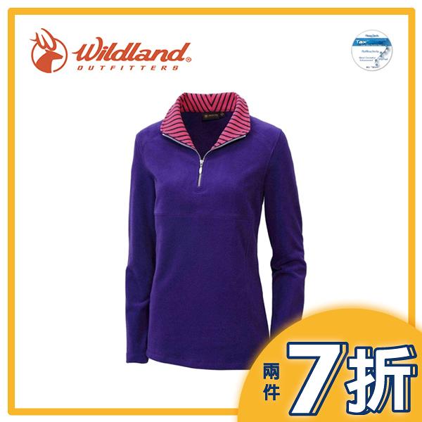 【Wildland 荒野 女 彈性奈米銀PILE衣《紫》】0A12501/運動上衣/長袖刷毛/抗靜電/透氣快乾/中層衣