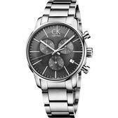 Calvin Klein CK City 都會紳士計時手錶-灰/43mm K2G27143