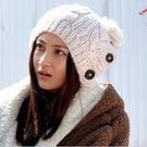 ►毛線帽 保暖帽 韓版同款針織 三紐扣麻花帽子 【B7023】