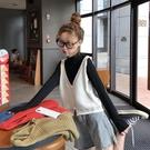 針織毛衣背心 無袖馬甲女潮秋季新款韓版寬鬆短款針織馬甲毛衣外穿坎肩背心 4色均碼