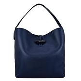 【南紡購物中心】LONGCHAMP ROSEAU系列金屬竹節卵石紋牛皮單肩包(深藍)
