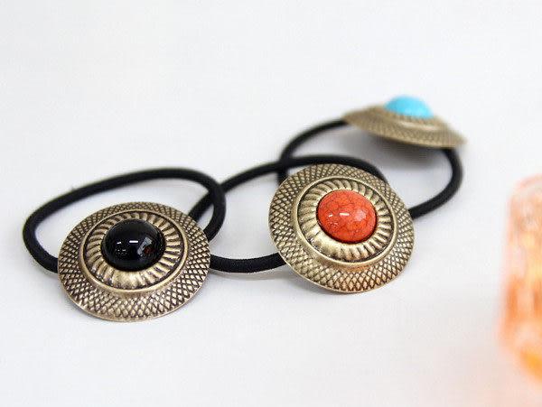 薇嘉雅 波西米亞復古金屬圓盤人造石髮束