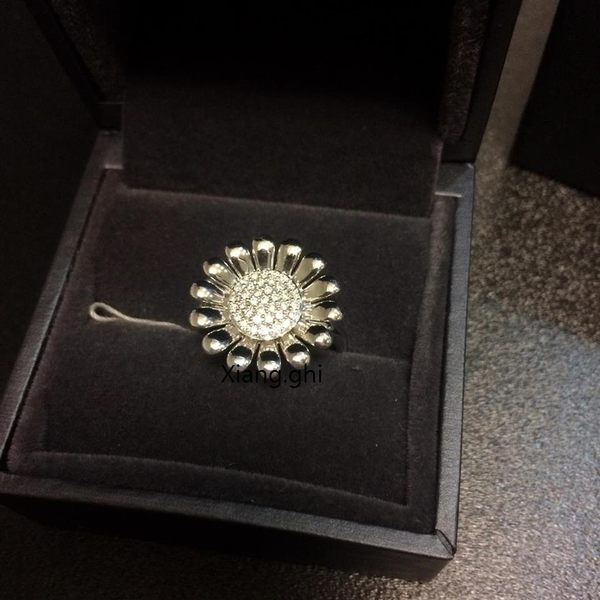 喬治傑生(GEORG JENSEN)-SUNFLOWER戒指純銀鑲嵌明亮切割式鑽石-大 #53