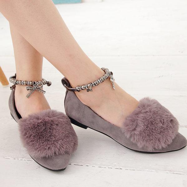 包鞋 兔毛絨布氣質繞踝尖頭鞋 香榭