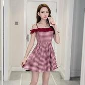 露背洋裝 夏季新款女裝氣質高腰顯瘦性感露肩漏背一字領吊帶收腰洋裝 polygirl