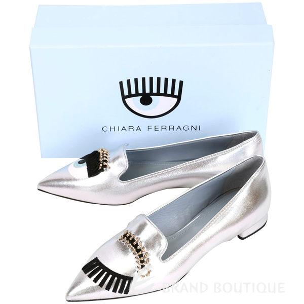 Chiara Ferragni Flirting 牛皮眨眼眉環設計尖頭鞋(銀色) 1630137-30