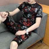 男士套裝短袖t恤男韓版休閒半袖男裝體恤兩件套    琉璃美衣