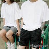 素T 短袖上衣  韩版宽松情侶五分袖T恤(X1034)★MagicMan★現貨