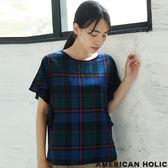 ❖ Autumn ❖ 格紋褶邊袖口圓領襯衫上衣 - AMERICAN HOLIC