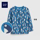 Gap男嬰幼童 布萊納小熊刺繡印花口袋長袖圓領T恤 373536-冬夜