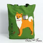 【Tiara Tiara】柴犬x文鳥好朋友-帆布袋(卡其/綠)