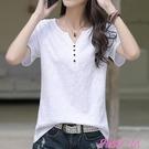 短袖T恤白色T恤女短袖夏裝2021年新款純棉寬鬆大碼紐扣V領半袖女裝體恤潮 JUST M