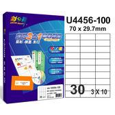 彩之舞U4456 100  3 合1  標籤3x10 直角30 格無邊100 張入盒