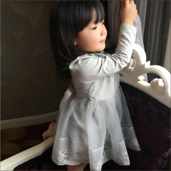 洋裝 2016春季新款童裝 女童珍珠蕾絲娃娃領洋裝 網紗裙兒童裙子 灰色款