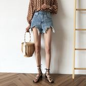 PETIT AMIE牛仔短褲女2018夏季新款韓版chic寬鬆顯瘦闊腿高腰熱褲 【PINK Q】