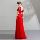 歐尚-重工紅色刺繡珠片蕾絲新娘婚紗禮服敬酒服 批發1909
